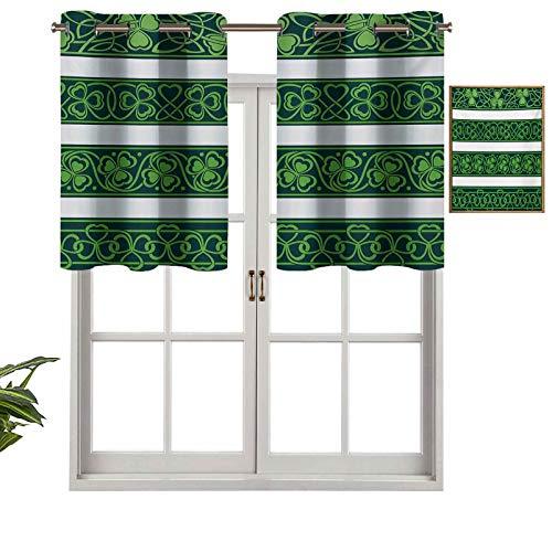 Hiiiman Cenefas opacas con aislamiento térmico con ojales, bordes de trébol gaélico, naturaleza botánica con espirales, juego de 2, cenefas pequeñas de media ventana de 106,7 x 60,9 cm para dormitorio