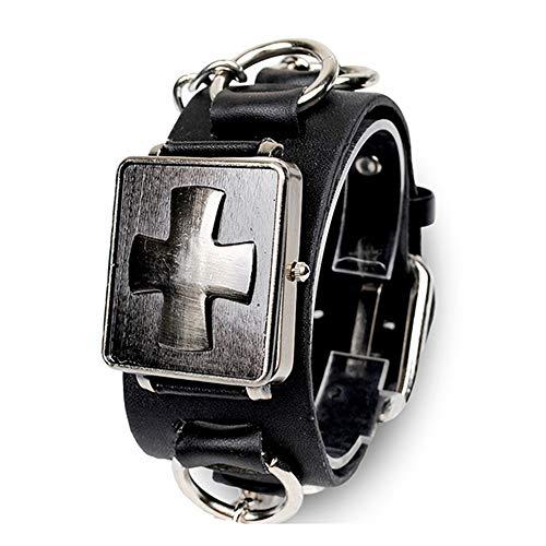 Avaner Reloj de Pulsera Grande Punky Rock para Hombres, Cruz Reloj Cuadrado Ancha Correa de Cuero Negro Plateado con Cadena, Punk Gótico Reloj Original Biker