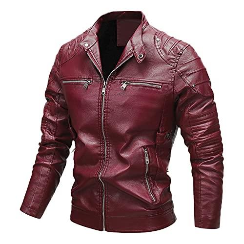 RYTEJFES Giacca da uomo in finta pelle, giacca da motociclista, invernale, colore nero, con collo alto, da uomo, alla moda, in pelle PU, per il tempo libero, per il tempo libero, Colore: rosso, XXL