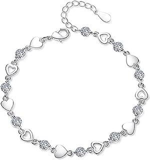 سلسلة سوار كريستال سحر أساور لطيف 925 فضة استرليني أساور للنساء مجوهرات الزفاف يانجين (اللون: كريستال أبيض)