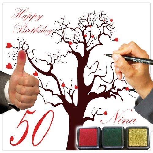 galleryy.net Fingerabdruck Leinwand: Geburtstagsgästebuch & Geburtstagsspiel als Komplettset inkl. Stempelkissen für die Abdrücke - mit INDIVIDUALISIERUNG (Name des Beschenkten und Geburtstagsdatum!)