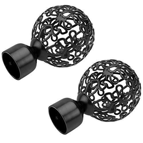 VOSAREA 2 pezzi bastone per tende Finials Retro aste sferiche per camera da letto rustiche pomelli decorativi vintage per cucina, bagno, camera da letto