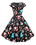 Hanpceirs Women's Cap Sleeve 1950s Retro Vintage Cocktail Swing Dresses with Pocket Christmas 3X
