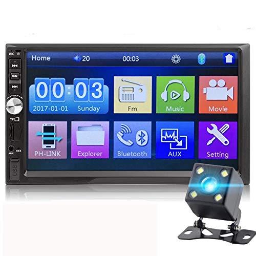 7 Pulgadas 2 DIN HD MP5 Autoradio Modelos Generales Pantalla Táctil LCD Enlace de Espejo Reproductor de Autoradio Bluetooth USB TF AUX Audio de Coche (con 4LED Cámara de Marcha Atrás)