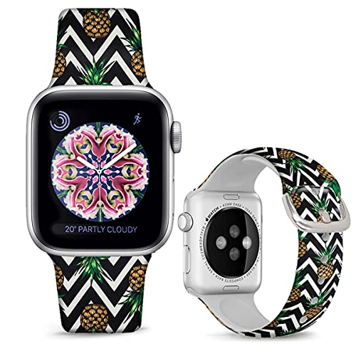 DOO UC Silicone Floral Bands Compatible with Apple Watch 42mm/44mm for Women Girls, Pineapple Black Chevron Fadeless Pattern Printed Sport Strap Replacement for iWatch SE & Series 6 & Series 5 4 3 2 1