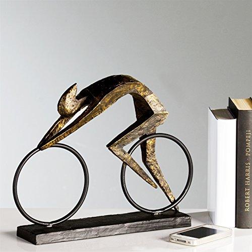 Casablanca - Skulptur Racer aus Poly - bronzefarben auf schwarzer Metallbasis (H. 2 cm - B. 32 cm - T. 7,5 cm) mit Zertifikat und Spruchanhänger
