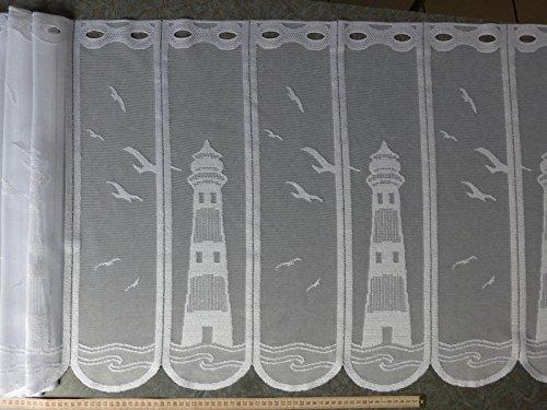 Scheibengardinenstoff Möwen und Leuchtturm weiß 59cm hoch