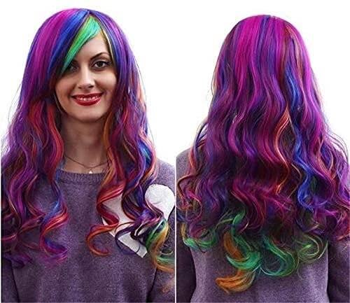 Harajuku - Pelucas de estilo degradado de moda Cos Anime Pelucas de siete colores arco iris Cosplay Pelucas de color multicolor