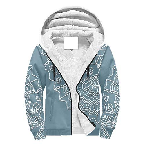 O5KFD&8 Herr Durchgehender Reißverschluss Winter Vlies Sweatshirts Studenten CadetBlue Mandala Design Freizeit - Blume Baumwolle Slim Sportbluse White 2XL
