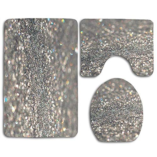 zhurunshangmaoGYS Silver Glitter Sparkle Cute Soft Comfort Flannel Bathroom Mats,Anti-Skid Absorbent Toilet Seat Cover Bath Mat Lid Cover,3pcs/Set Rugs