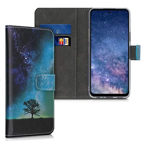 kwmobile Wallet Hülle kompatibel mit LG K42 - Hülle Kunstleder mit Kartenfächern Stand Galaxie Baum Wiese Blau Grau Schwarz