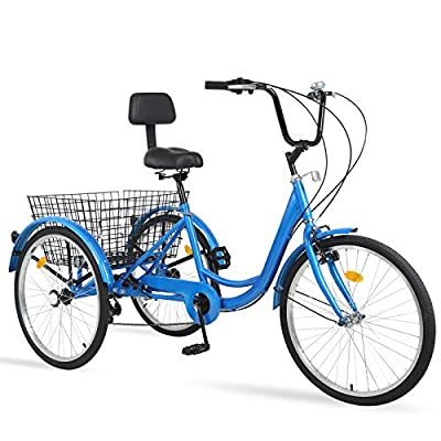 Adult Tricycles 7 Speed, Adult Tricycle Trikes 24/26 inch 3 Wheel Bikes, Three-Wheeled Bicycles Cruise Trike with Shopping Basket for Seniors Women Men, Men's Women's Cycling Exercise Recumbent Bike