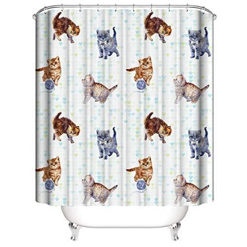 A&S Creavention Bathroom Custom Cat Design Shower Curtain 70' x 70' Standard Size, 1pc (Cat Thread Ball Play)