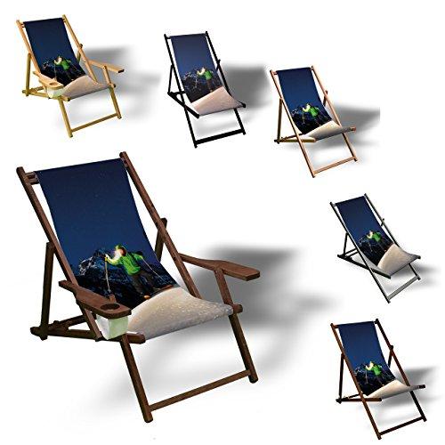 Printalio - Nacht Ski - Liegestuhl Bedruckt Balkon Garten Sonnenliege Relax Holz Terrasse   Kinderliegestuhl, Natur