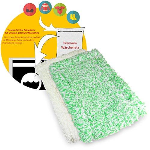 Jemako Bodentuch Set grüne Faser lang und weiss kurze Faser 42cm für glatte und glänzende Böden sowie Kunststoffböden inkl. Wäschenetz