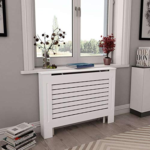 """vidaXL Radiator Cover Heater Heating Side Stand Cabinet Living Room Home Indoor Shelf Space 44.1""""x7.5""""x32.1"""" White MDF with Matte Finish"""