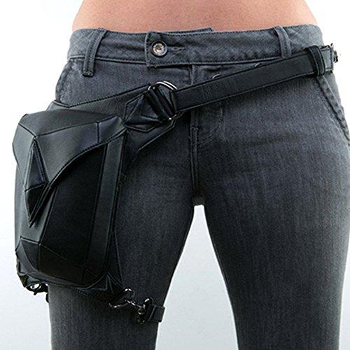 UIYTR Steampunk PU Leather Waist Bag Vintage Gothic Steampunk Fanny Waist Leg Bag (G) (Black)