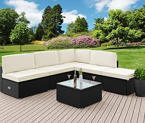 Casaria Poly Rattan XL Lounge Set inkl. 7cm Auflagen und 15cm dicken Kissen Tisch mit Glasplatte frei stellbare Elemente Gartenmöbel Sitzgruppe Schwarz Creme - 5