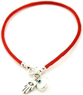 Pulsera con hilo de color rojo y colgante de plata con dise