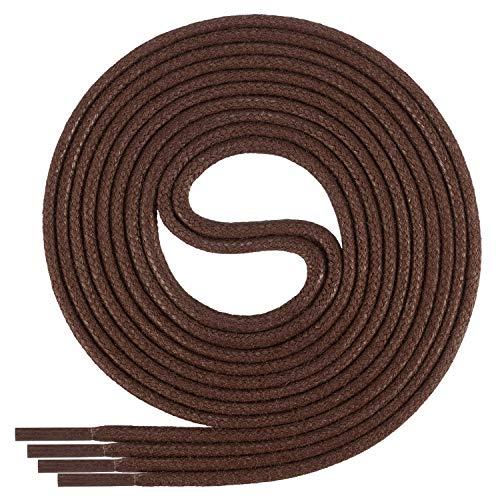 Di Ficchiano-SW-03-brown-60 gewachste runde Schnürsenkel, Schuband, Laces, Durchmesser 2-4 mm für Businessschuhe, Anzugschuhe und Lederschuhe
