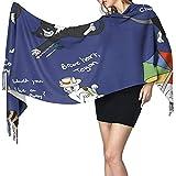 Elaine-Shop Doctor Who Cats - Bufanda de manta larga para mujer, bufanda de moda con borla y mantón, suave sensación de cachemir