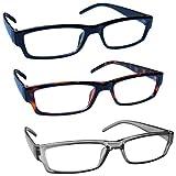 The Reading Glasses Company Blu Grigio Marrone Leggero Comodo Lettori Valore 3 Pacco Uomo Donna...