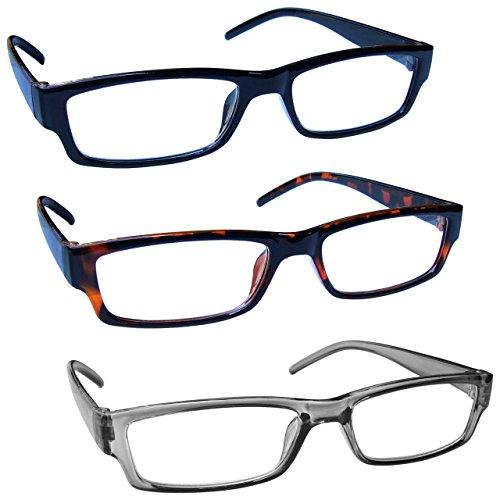The Reading Glasses Company Nero Marrone Grigio Leggero Comodo Lettori Valore 3 Pacco Uomo Donna Rrr32-127 +2,00 - 88 Gr