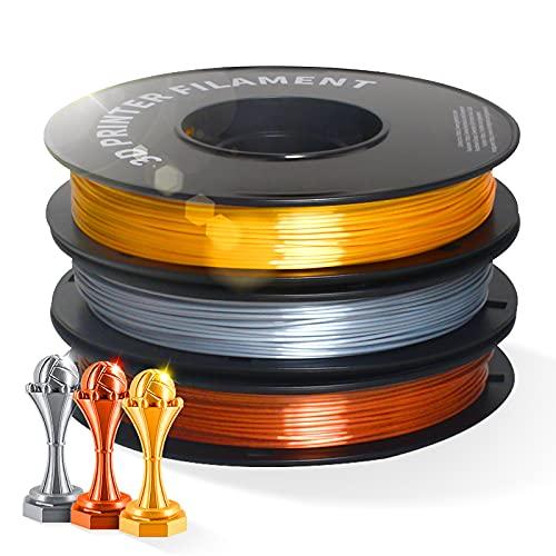 DERUC Silk Filamento PLA 1,75 mm para impresora 3D, filamento PLA, 0,5 kg por bobina, 3 bobinas (dorado + plata + cobre)