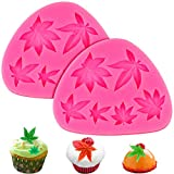 Palksky 2 PCS Weed Leaf Cake Decoration Molds/Pot Leaves Silicone Fondant Mold, 6 Cavities Gummy Brownies Candy Mold for Cookie, Muffins, Chocolate, Cupcake Topper and Polymer Clay