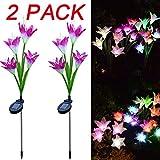 Lumière Solaire, 2 pièces Lily Flower Solar Powered Garden Stake Lights Fleurs artificielles LED Light LED Light Liquidation de décoration (Violet)