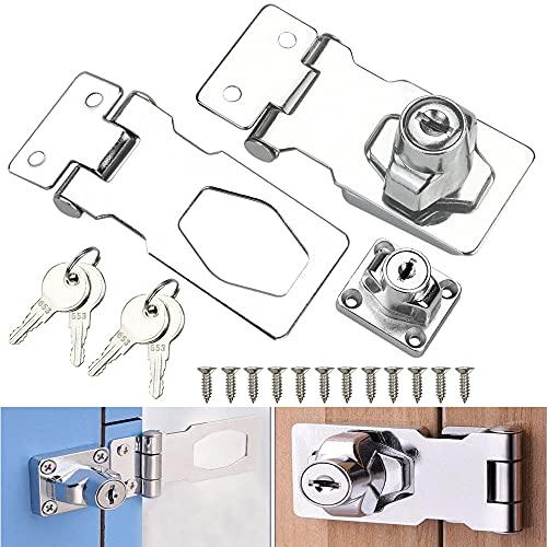 VCRANONR 2 Stücke Keyed Hasp Lock 2.5 Inch Locking Hasp Schrankschloss mit Schlüssel und Schrauben Vorhängeschloss Hasp Silber Überfalle Abschließbar Sicherheits Keyed Locking Hasp für Schubladen usw