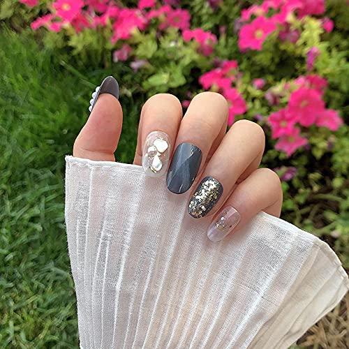 Faux ongles 24pcs Highclass Grey Paillette Faux Ongles Décoratifs Tête Ronde Mi-Longueur Portable Couverture Complète Ongles Fini TI