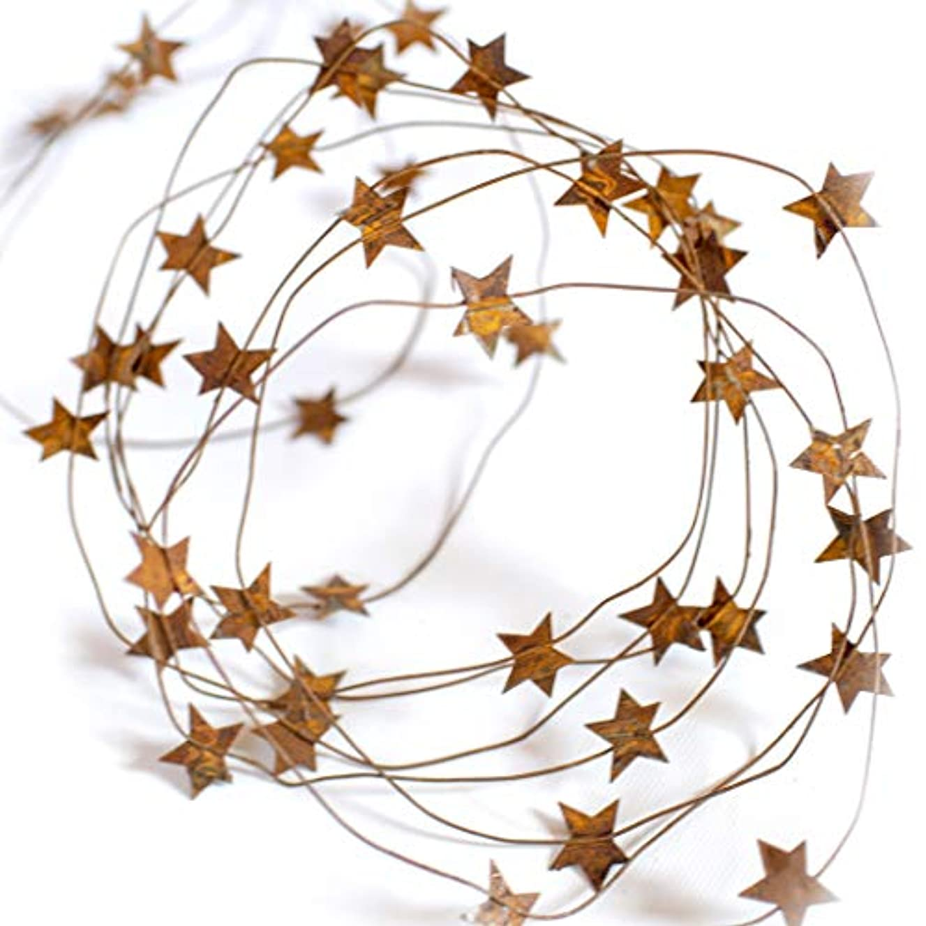 RUSTY TIN BARN STAR GARLAND - Extra long 24' metal rustic primitive country banner stars wire garland indoor outdoor light Christmas thanksgiving party decor. Great on mantle, tables, staircase, porch