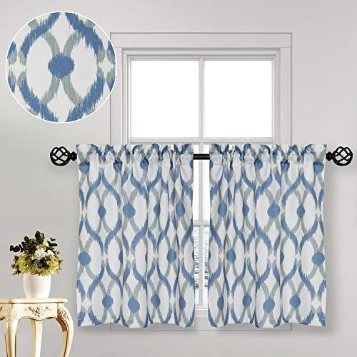 "oremila Tier Curtains for Kitchen Windows Geometric café Curtains, 27"" x 36"" Multi-Color Geometric Printed Half Window Curtain Set for Bathroom Rod Pocket, 1 Pair, Navy/Gray"