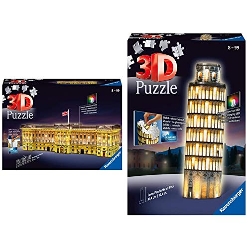 Ravensburger 12529 Buckingham Palace Night Edition Puzzle, 3D & Italy- Torre Di Pisa Puzzle, 3D Building, Night Edition, 12515