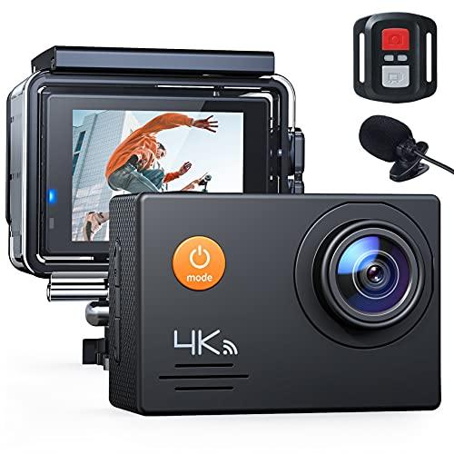 Action Cam 4K WiFi 16MP wasserdichte 40M Unterwasserkamera mit Mikrofon und Fernbedienung