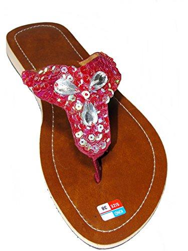 Damen Flip Sandale Shine Zehentrenner Zehenpantolette Sommersandale Zehenstegsandale in Rosé mit Perlen und Pailletten