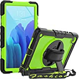 SEYMCY Case for Samsung Galaxy Tab A7 10.4 Inch 2020,SM-T500/T505/T507 Case, Full Protection Shockproof Hard Durable Stand Case [360 Rotatable Hand Strap/Screen Protector/Pen Holder] Cover,Black/Green