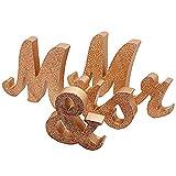 Alnicov Mr and Mrs - Letras de madera, diseño de señor y señora y señora para boda, mesa de boda, decoración de mesa de fiesta, cenas (oro rosa)