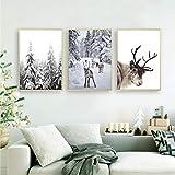LYFCV Rentier Poster Druck Winter Wandkunst Leinwand