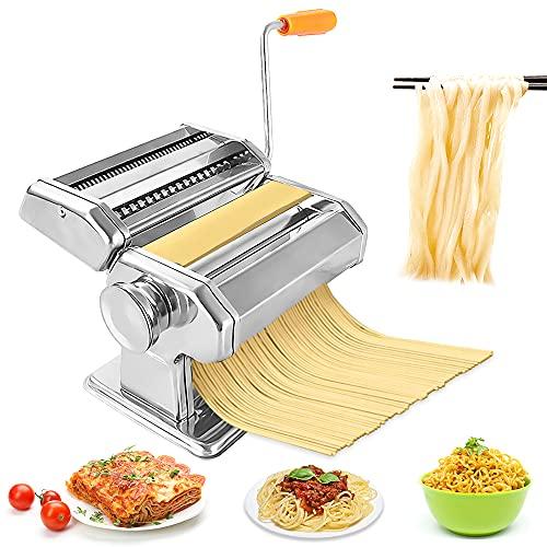 Nudelmaschine Manuelle Pasta Maker Edelstahl Hausgemachter Manueller Pastamaschine Mit 2 In 1 Teigschneider Und 8 Einstellbare Dicke Einstellung für Nudeln Selber Machen Spaghetti Lasagne Ravioli