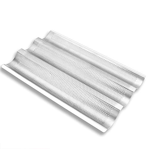 """French Baguette Bread Pan, Stainless Steel Perforated Loaf Pans for Baking, 3 Waves Toaster Oven Baking Tray (15""""x10"""")"""