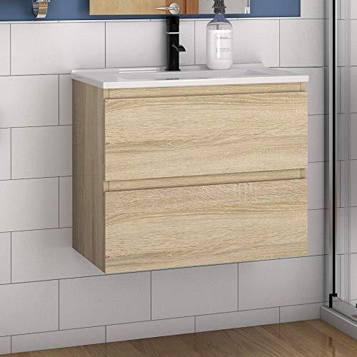 Aica Sanitär Badmöbel Set 60 cm Aalst Vormontieren Keramikbecken mit Unterschrank Waschtisch Eiche