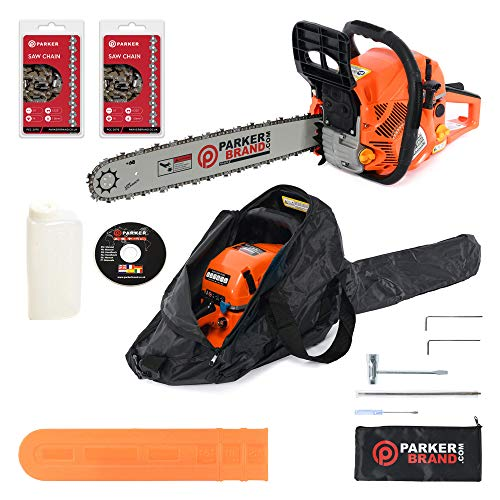 """ParkerBrand 58cc 20\"""" Petrol Chainsaw + 2 x Chains + More"""