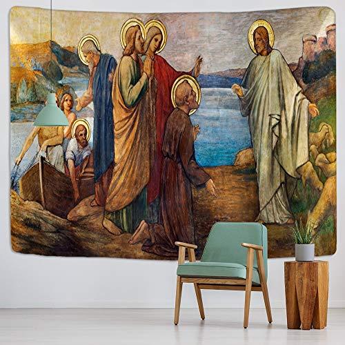 KHKJ Cristo Jesús Tapiz Colgante de Pared artístico cabaña Dormitorio Arte de la Pared decoración del hogar decoración de la Pared marrón A2 200x150cm