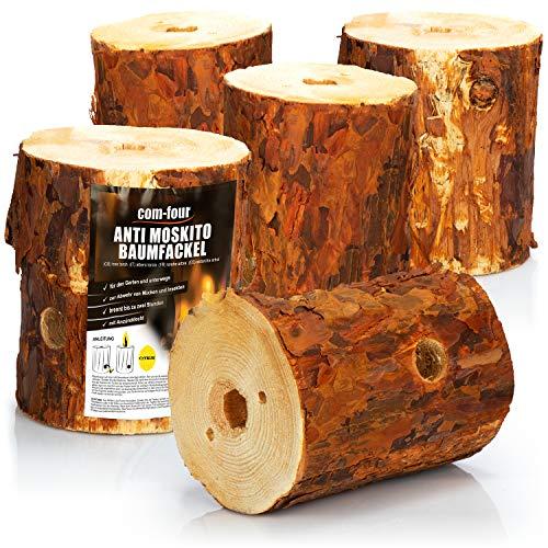 com-four® 5X Schwedenfeuer zur Abwehr von Mücken und Insekten, Anti Moskito Baumfackel mit Anzünddocht
