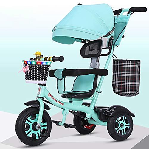 AI-QX Besrey Triciclos Bebes, Triciclo Bebe evolutivo Infantil 7en1 Bicicletas para Bebe niños reclinable Triciclo Cochecito con Cuna Reversible al Padres,Green