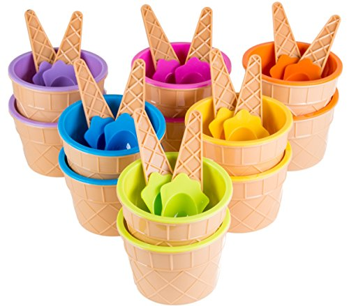 Green Direct Plastic Sundae Ice Cream Frozen Yogurt Cups with Spoons - Ice Cream Dessert Bowls Pack...