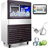 VEVOR 110V Commercial Ice Maker 155LBS/24H with 39LBS Bin Clear Cube, LED Panel, Stainless Steel, Auto Clean,...
