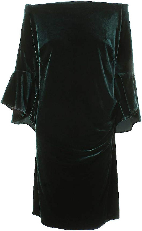 Lauren Ralph Lauren Womens Plus Velvet OffTheShoulder Cocktail Dress